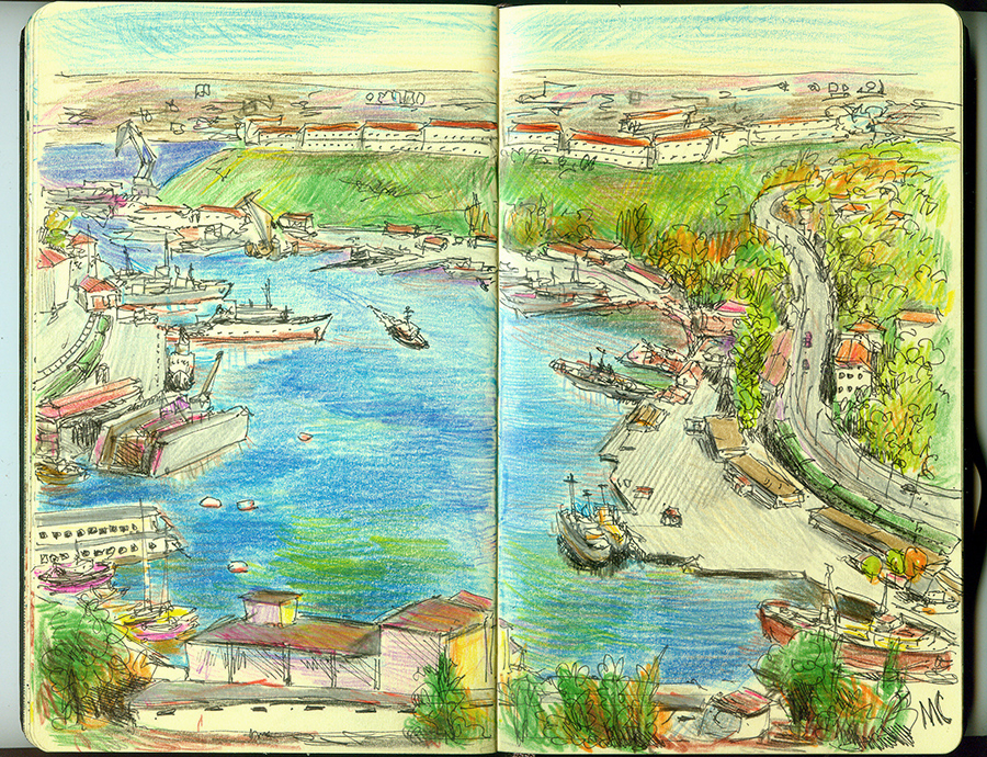 Sevastopol, sketch, pen, color pancil, bay, sea