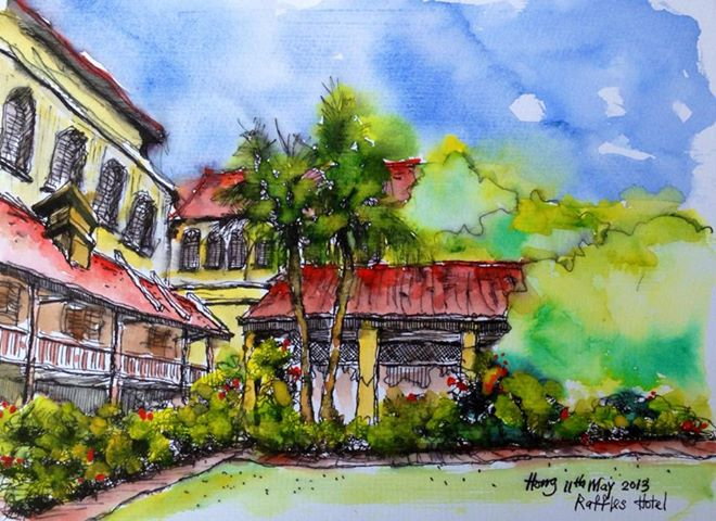 watercolor, sketch, Ban Pang