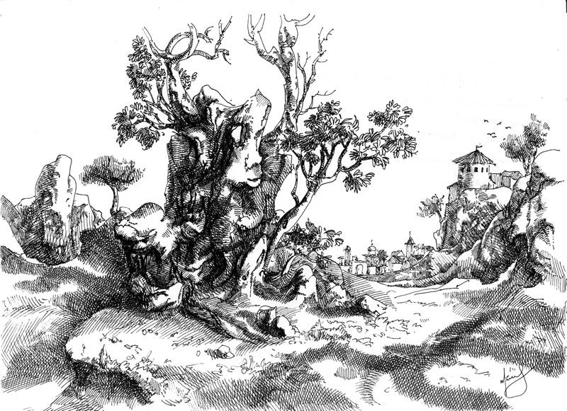 Засыхающее дерево, А4, гелевая ручка, 2011