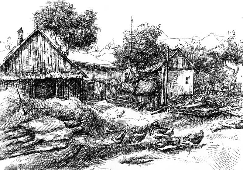 Русское село, А4, гелевая ручка, 2010