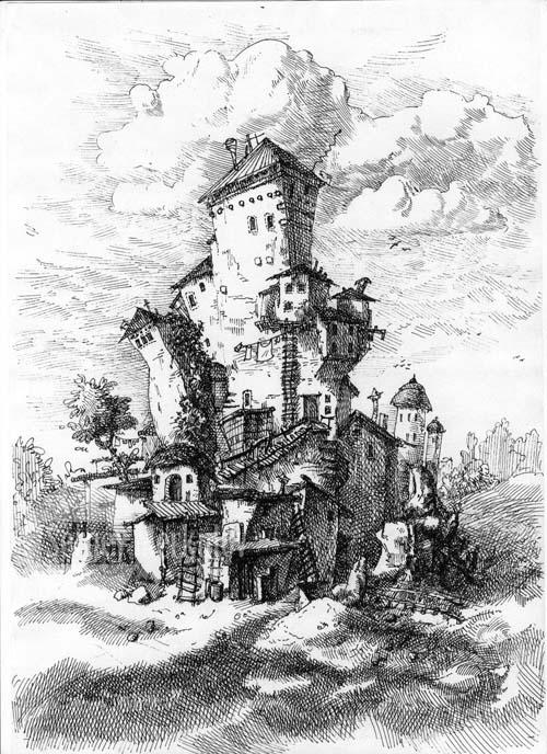 Замок, А4, гелевая ручка, 2011