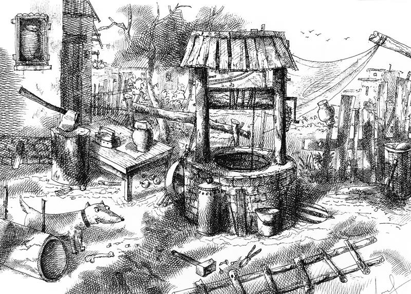 Колодец, А4, гелевая ручка, 2012