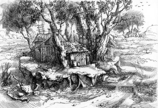 В деревьях, А4, гелевая ручка, 2010