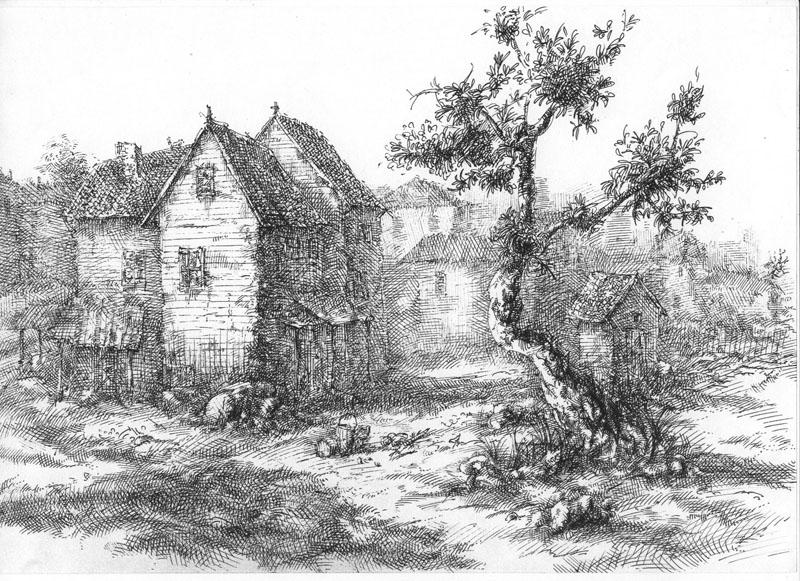 Старый город, А4, гелевая ручка, 2008