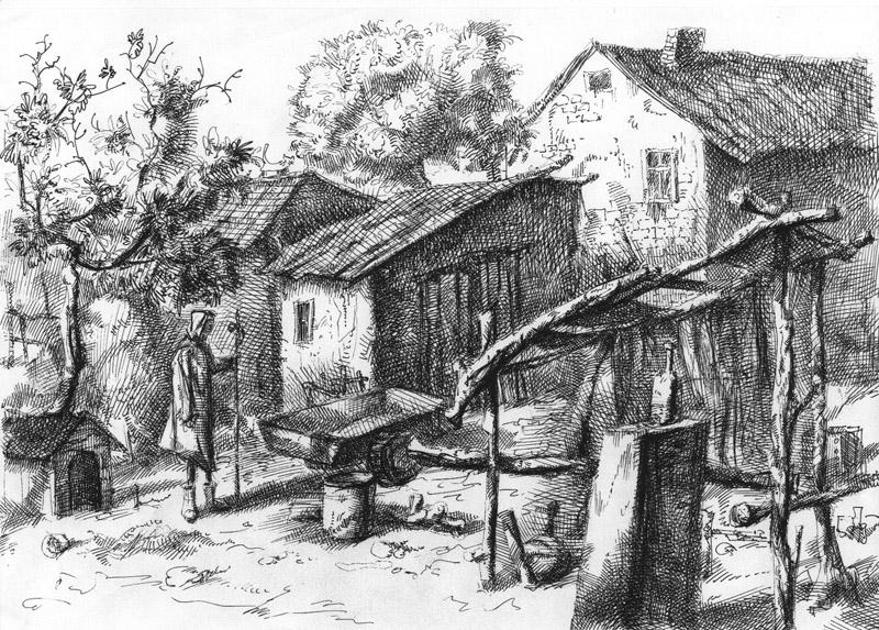 Дворик, А4, гелевая ручка, 2008