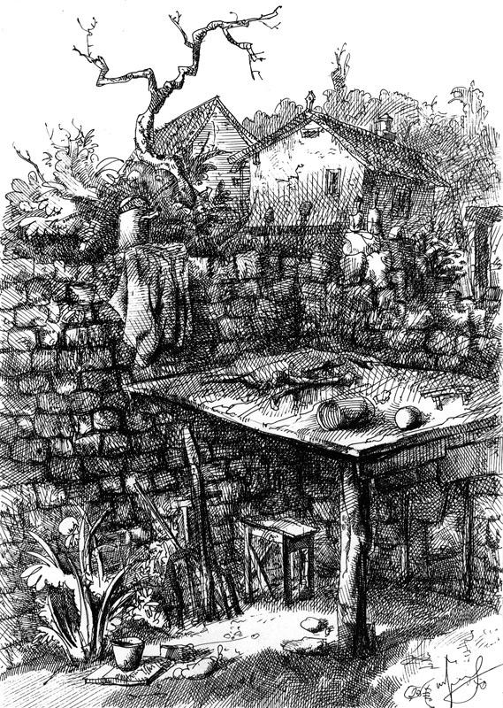 Возле дома, А4, гелевая ручка, 2011