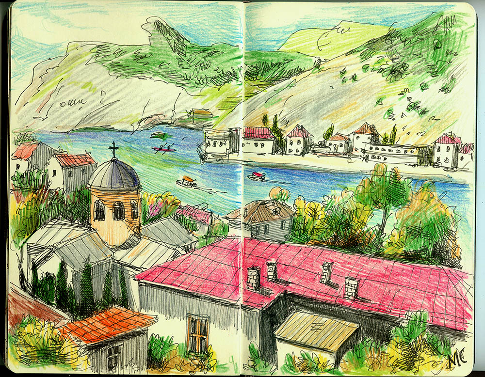 Балаклава, скетч, цветные карандаши, пейзаж, ручка