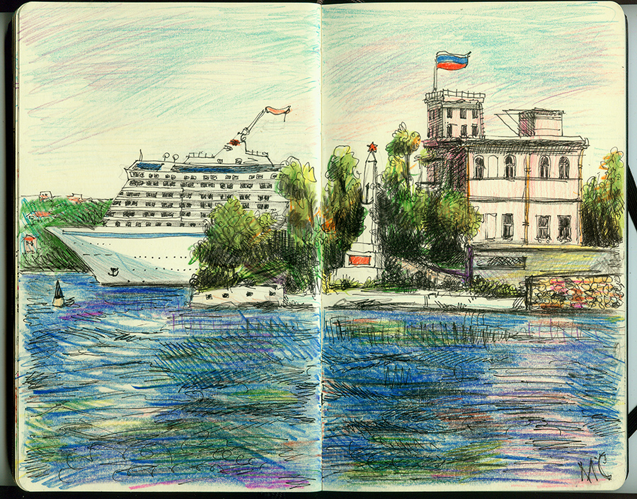 Севастополь, скетч, рисунок, лайнер, море, цветные карандаши, ручка, перо, молескин, памятник