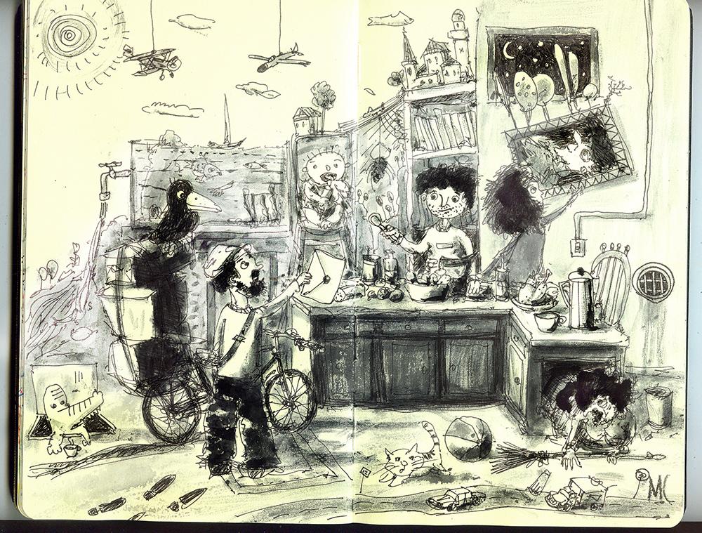 рисунок, письмо, пейзаж, кухня, люди, акварель, рисунок ручкой