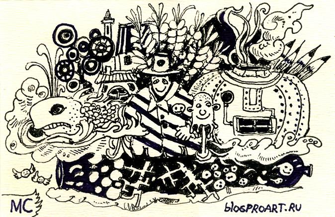 тушь, перо, графика, сюрреализм, Меркулов Сергей