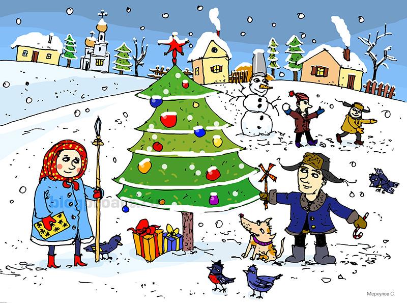 Новогодняя открытка, новый год, новогодняя ёлка, снег, новогодняя иллюстрация, новогодняя картинка