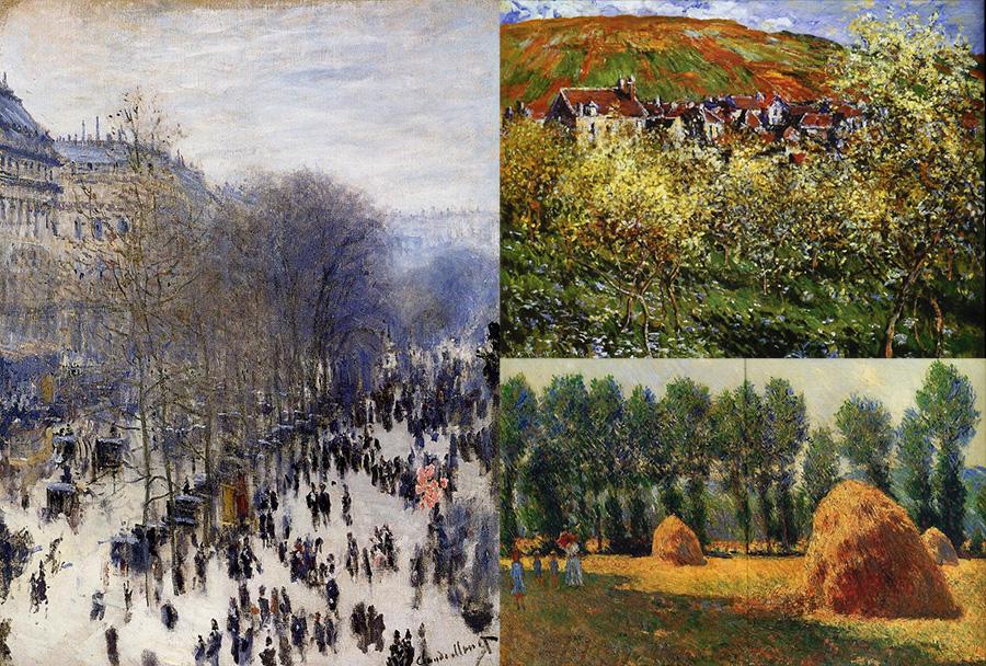 Моне, Стог сена в Живерне, живопись, пейзаж, Цветущие яблони, Бульвар Капуцинок