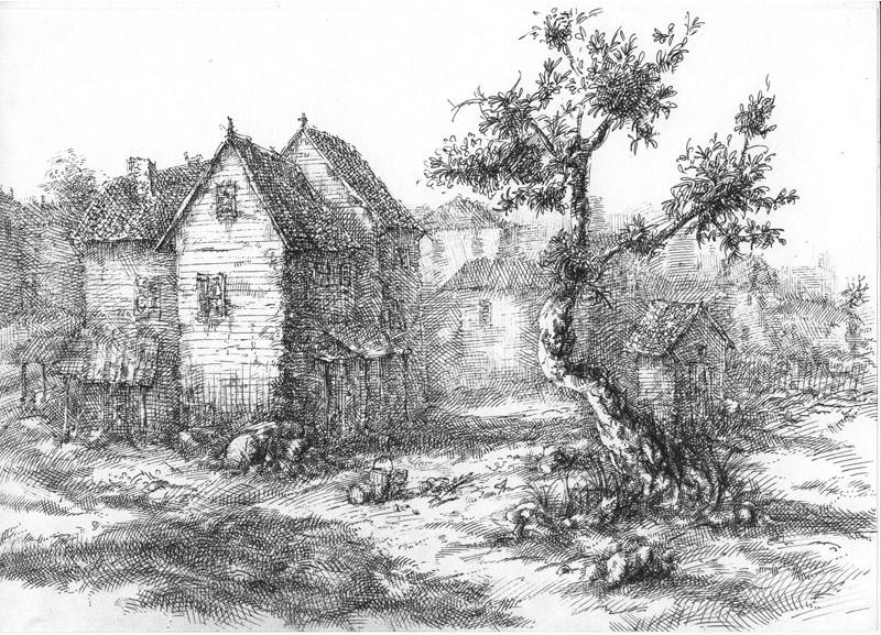 Домики, графика, рисунок ручкой, черно-белая иллюстрация, Меркулов Сергей