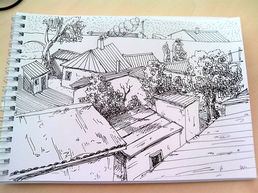 скетч, городской пейзаж, рисунок, Меркулов Сергей, urbansketch, sketch, drawing, colorpencil