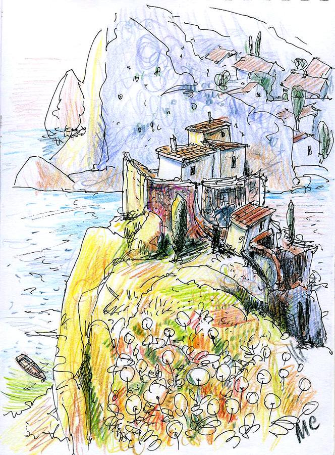 скетч, пейзаж, рисунок, Меркулов Сергей, urbansketch, sketch, drawing, colorpencil, Крым, Crimea