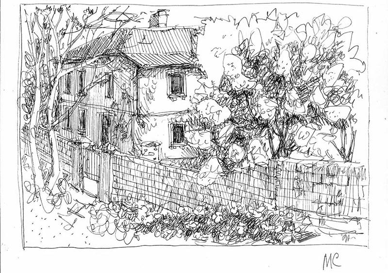 Скетч, Балаклава, Севастополь, ручка, цветные карандаши