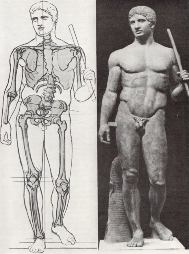 Обучение, рисунок, Древняя Греция, Поликлет, Дорифор