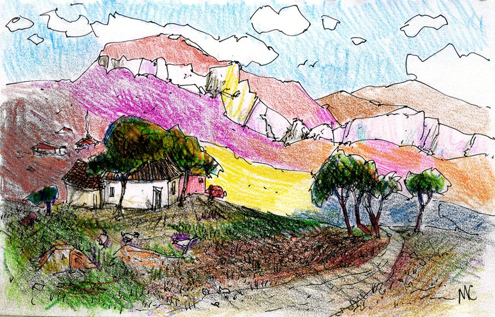 Крым, скетч, рисунок, пейзаж, горы, sketch, drawing, art, crimea