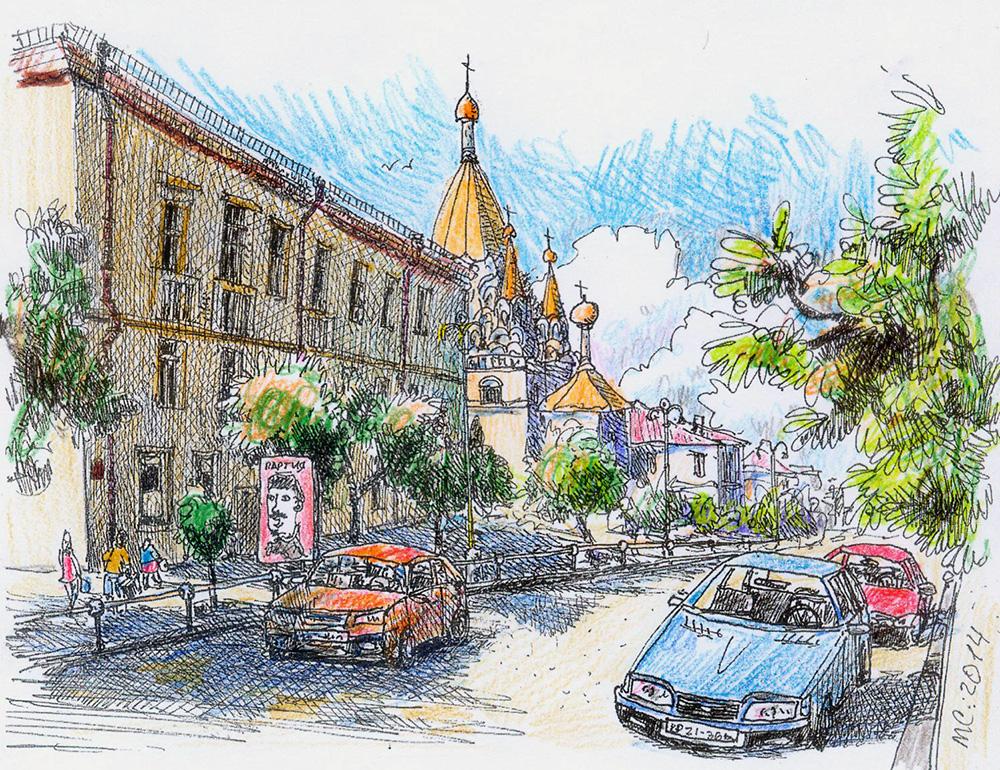 Севастополь, Скетч, Рисунок, Улицы, дома
