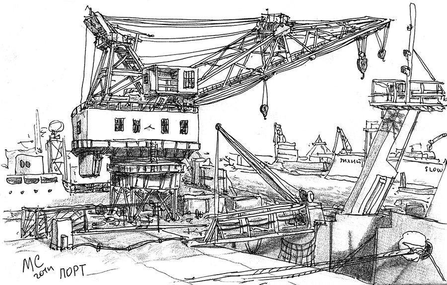 Севастополь, кран, Скетч, рисунок, море, Меркулов Сергей, бухта