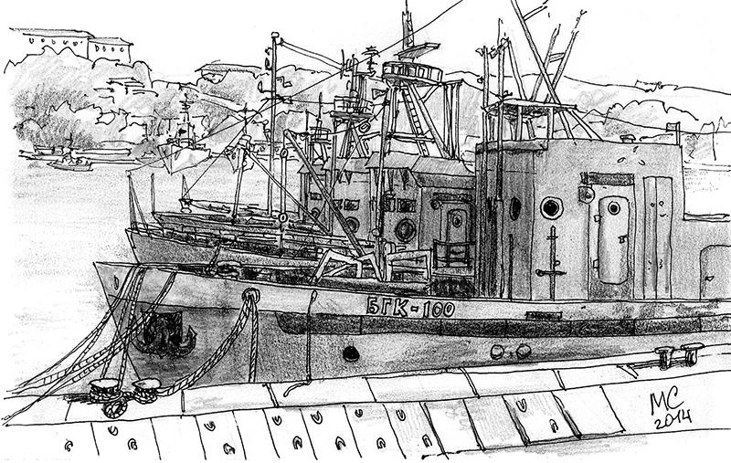 Севастополь, Баркас, Скетч, рисунок, море, Меркулов Сергей, бухта