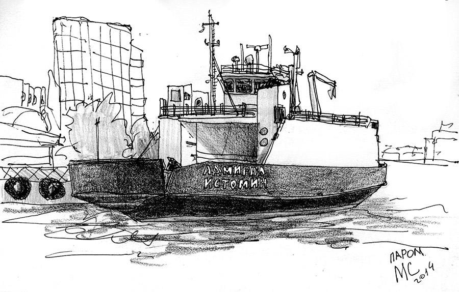 Скетч, рисунок, паром, Севастополь, море
