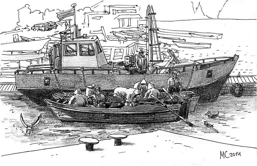 Севастополь, Балаклава, Скетч, рисунок, море, рыбаки, лодки