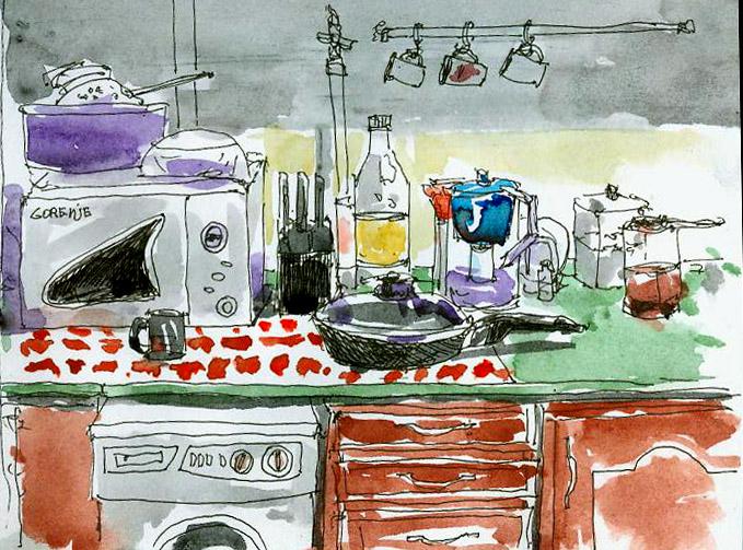 кухня, скетч, набросок, акварель