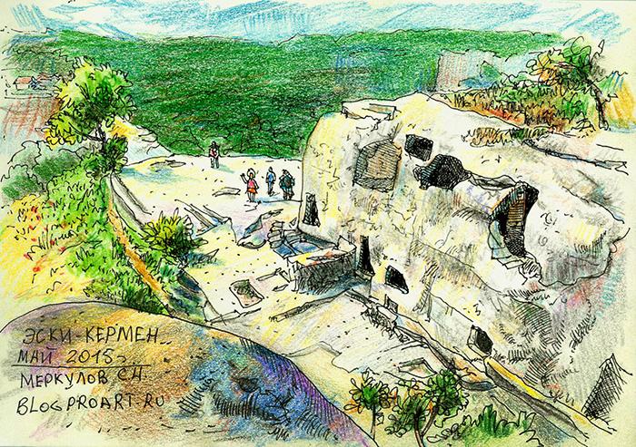 Крым, горы, рисунок, скетч, Эски-Кермен