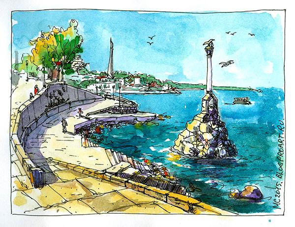 скетч, рисунок, акварель, Сергей Меркулов, ремонтная платформа, пзк, памятник, море