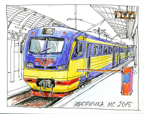 Электричка, поезд, рисунок, скетч, графика, рисунокручкой, Сергей Меркулов, художник, скетчер