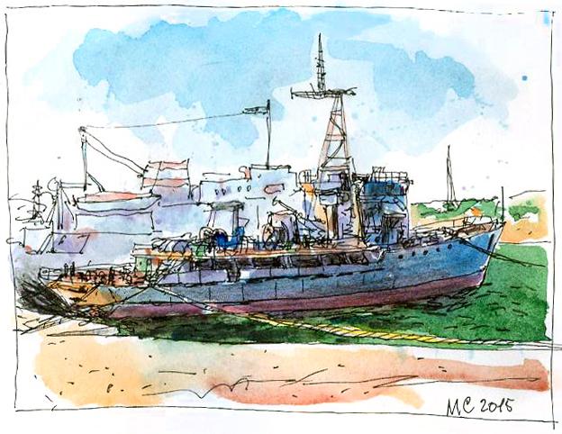 Сергей Меркулов, скетч, рисунок, корабль, море, севастополь, urbansketchers