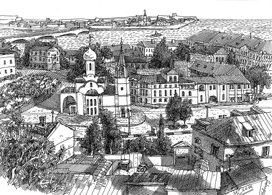 графика, Меркулов Сергей, рисунок, рисунок ручкой, церковь, собор, река, Нижний Новгород