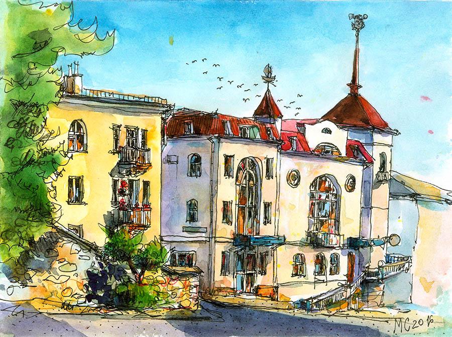 Меркулов Сергей, акварель, рисунок, зарисовка, скетч, Севастополь, ул. Суворова