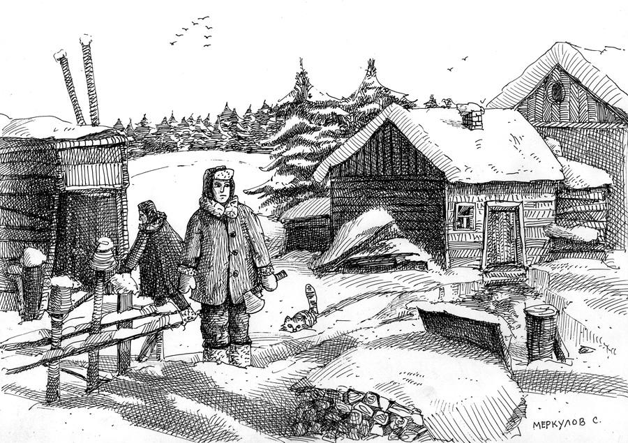 Меркулов Сергей, графика, рисунок ручкой, зима