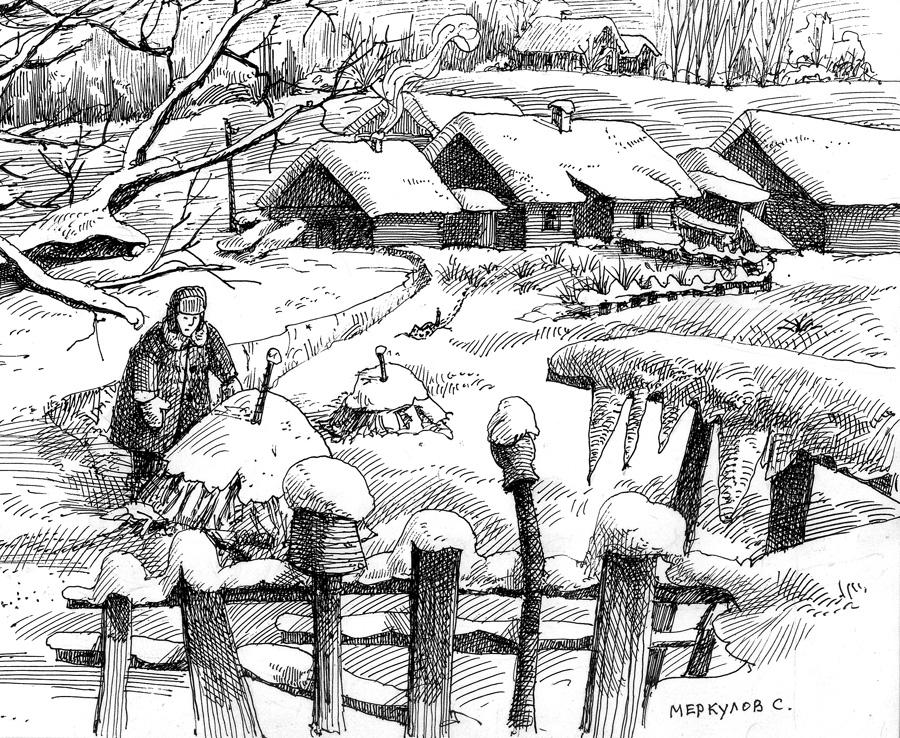 Зима, Меркулов Сергей, графика, рисунок ручкой