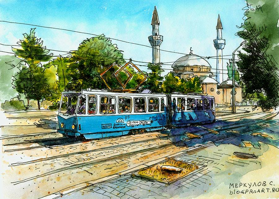 Трамвай и мечеть. Евпатория