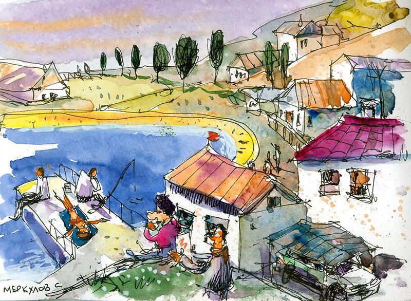 Меркулов Сергей, пляж, скетч, рисунок, акварель