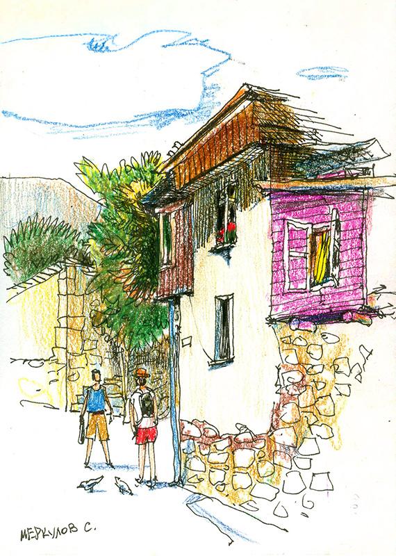 Меркулов Сергей, рисунок ручкой, скетч