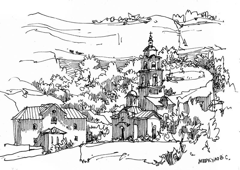 Меркулов Сергей, Скетч, рисунок, Бахчисарай, рисунок ручкой
