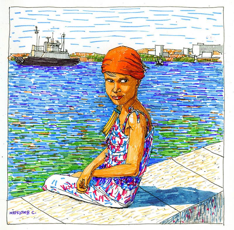 Меркулов Сергей, портрет, рисунок, фломастеры, перо, Севастополь