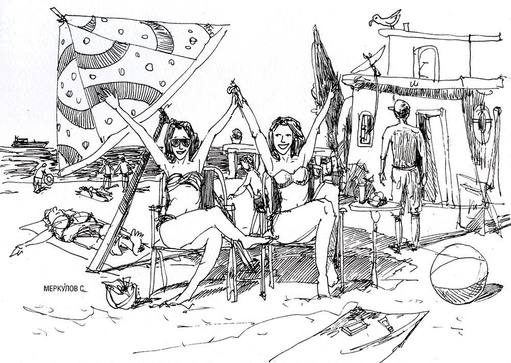Меркулов Сергей, скетч, пляж, море, лето, рисунок