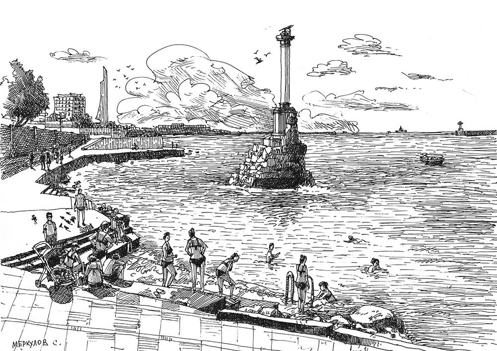 Меркулов Сергей, графика, рисунок, скетч, Севастополь, Памятник
