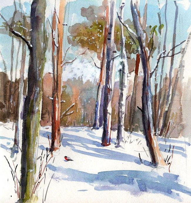 Меркулов Сергей, акварель, зима, лес