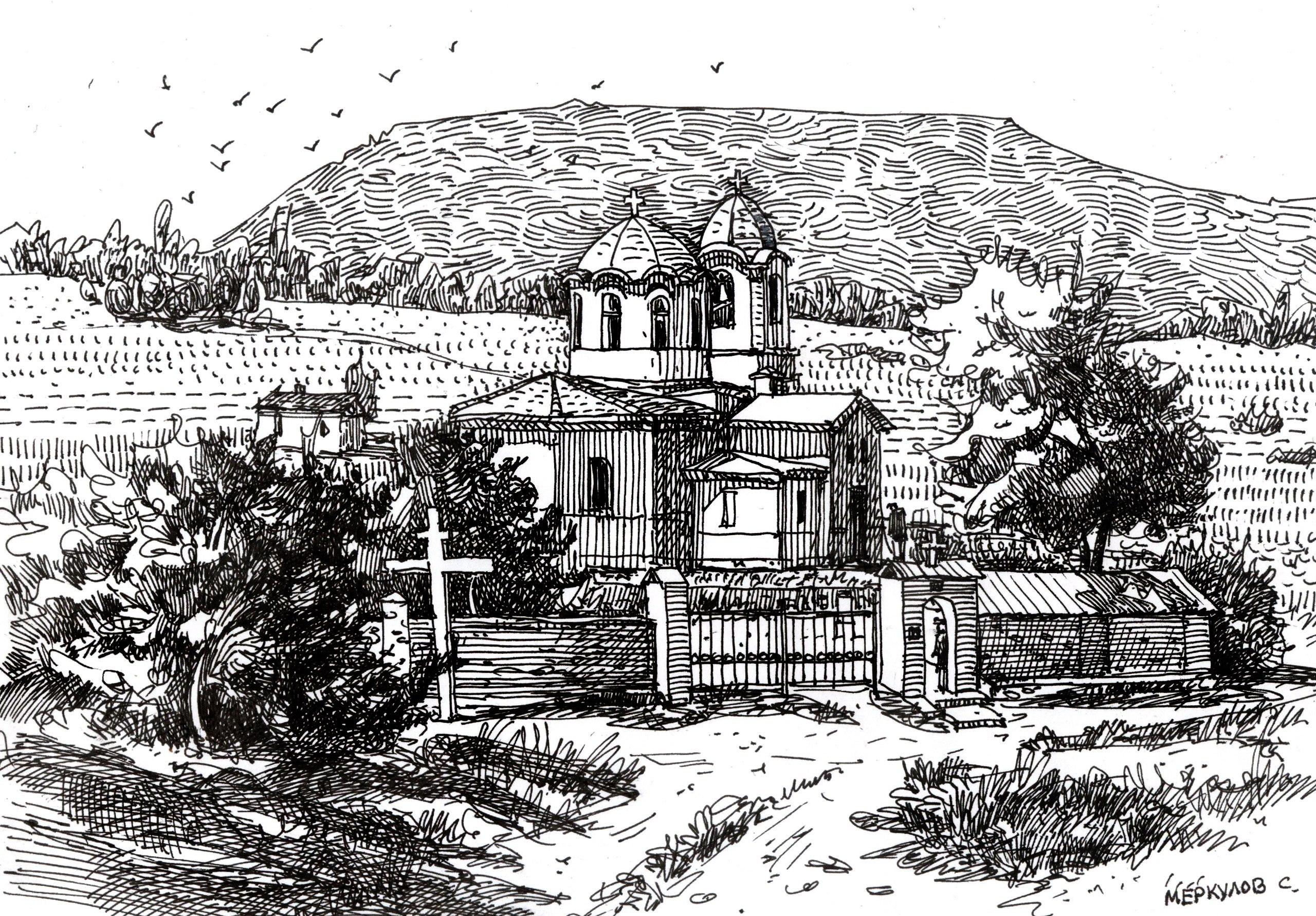 Храм Луки, Меркулов Сергей, рисунокпером, графика, крым