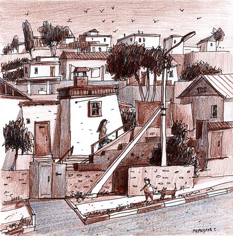 Меркулов Сергей, графика, рисунок, скетч, Севастополь, цветныекарандаши
