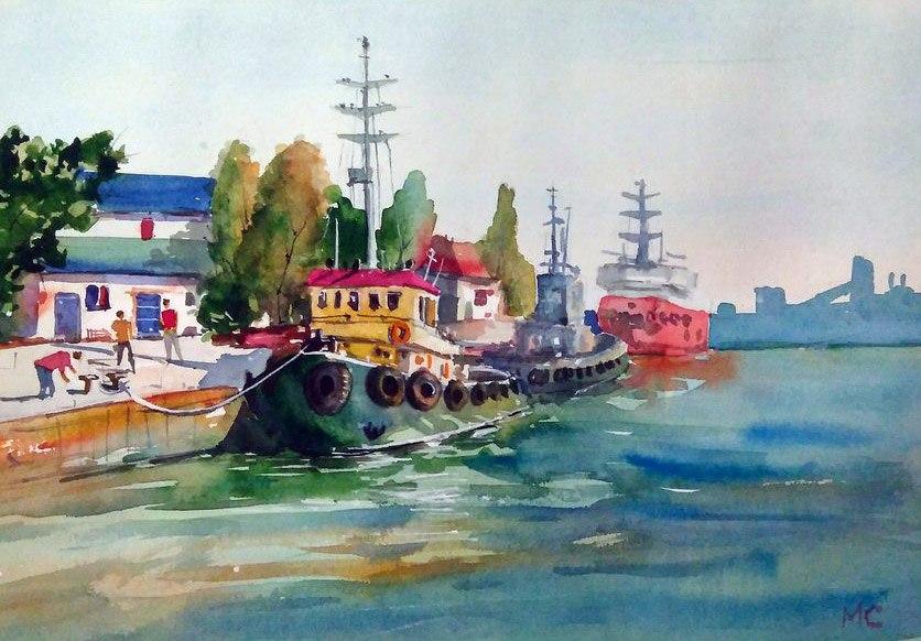 Меркулов Сергей, скетч, рисунок, акварель, баркасы, Севастополь
