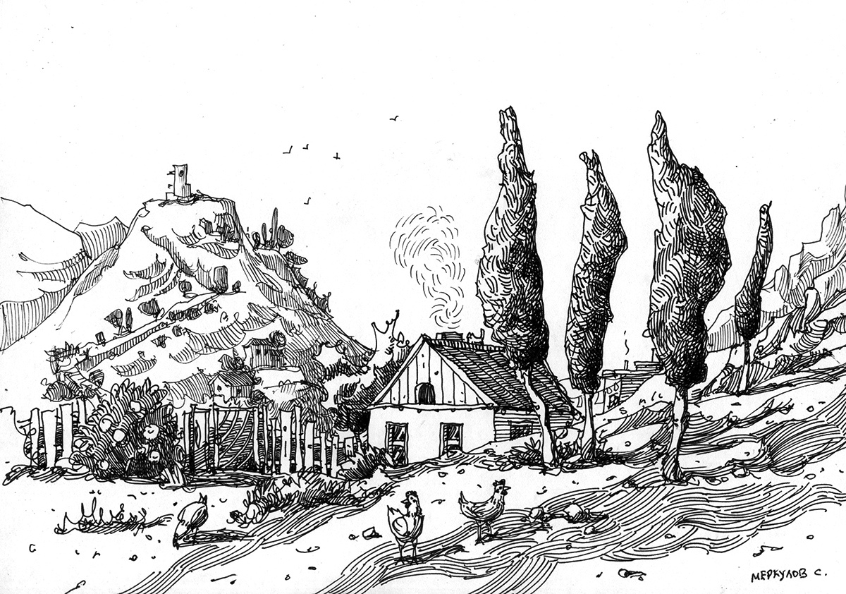 Меркулов Сергей, графика, Балаклава, рисунок пером