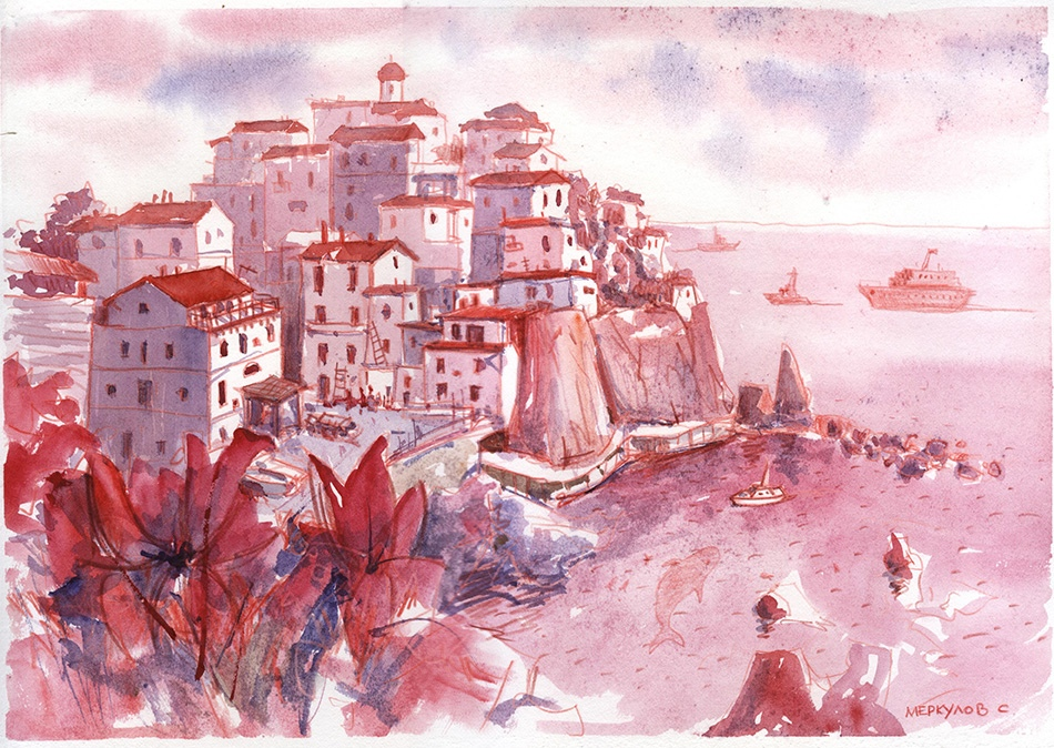 Остров, красный, Меркулов Сергей, акварель, выставка.