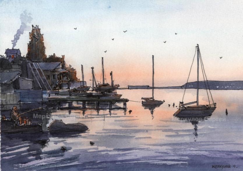 Меркулов Сергей, рисунок ручкой, яхты, скетч